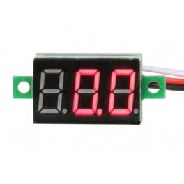 Mini 3-wire Volt Meter (0 - 99.9VDC) Red