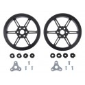 Pololu Multi-Hub Wheel w/Inserts for 3mm and 4mm Shafts - 80x10mm, Black, 2-pack
