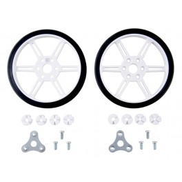 Pololu Multi-Hub Wheel w/Inserts for 3mm and 4mm Shafts - 80x10mm, White, 2-pack